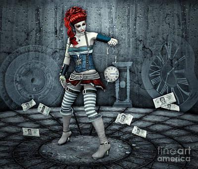 Digital Art - Time Is Money by Jutta Maria Pusl