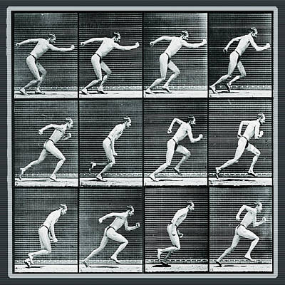 Painting - Time Lapse Motion Study Man Running Monochrome by Tony Rubino