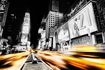 Times Square Photograph - Time Lapse Square by Andrew Paranavitana