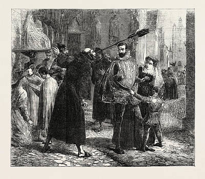 Reformer Drawing - Time Of The Persecution Of The Christian Reformers In Paris by Hook, James Clarke Ra (1819-1907), British