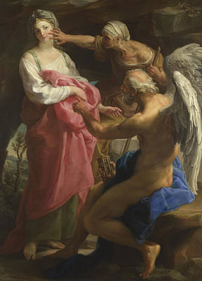 Time Orders Old Age To Destroy Beauty Art Print by Pompeo Girolamo Batoni