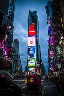 Time Square At Dusk Art Print by Chris Halford