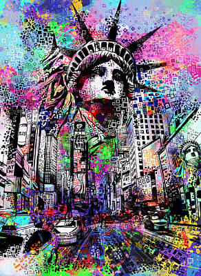 Liberty Painting - Times Square by Bekim Art