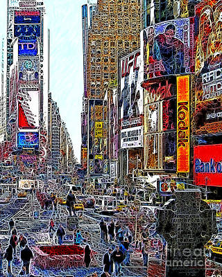 New York Newyork Digital Art - Time Square New York 20130503v7 by Wingsdomain Art and Photography