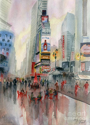 New York City Skyline Painting - Time Square New York by Melly Terpening