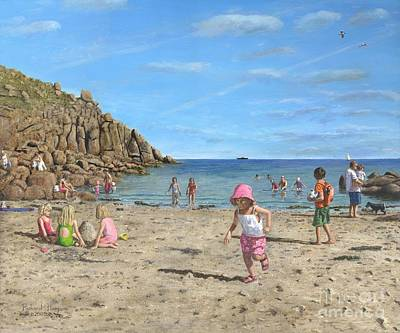 Beach Holiday Painting - Time To Go Home - Porthgwarra Beach Cornwall by Richard Harpum