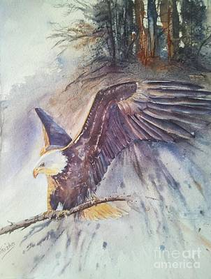 Eagle Painting - Time To Go by Patricia Pushaw