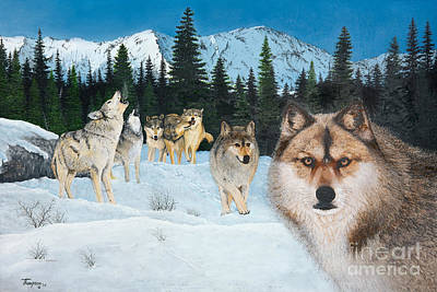 Snowscape Painting - Time To Hunt by Ron Thompson