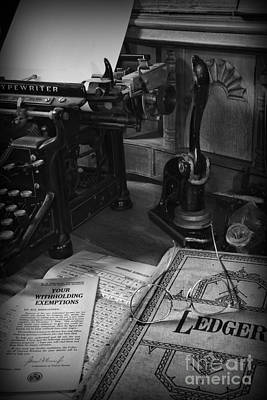 Time To Pay Your Taxes Black And White Print by Paul Ward