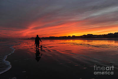 Surfing Maine Photograph - Time To Walk The Dog by Joe Faragalli