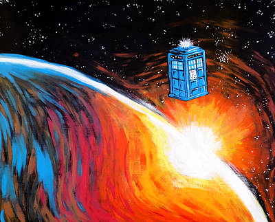 Dr. Who Painting - Time Travel Tardis by Jera Sky