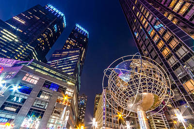 Time Warner And Trump Towers At Night Art Print