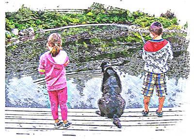 Timeless Activities - Trouting - Children - Summer Fun Art Print