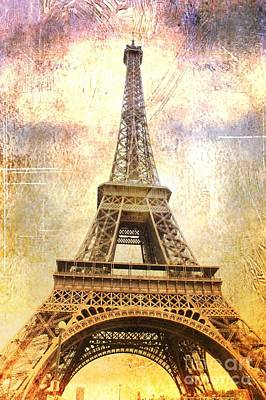 Antique Look Photograph - Timeless  Eiffel Tower by Carol Groenen