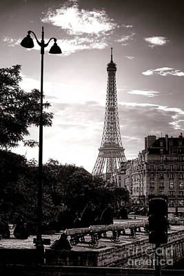 Streetlight Photograph - Timeless Eiffel Tower by Olivier Le Queinec