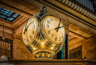 Art Print featuring the photograph Timepiece At Grand Central Station New York by Linda Karlin