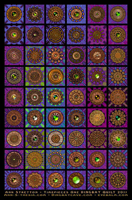 Millefiori Digital Art - Timepieces One Dingbat Quilt by Ann Stretton