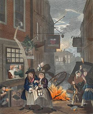 Pissing Drawing - Times Of Day, Night, Illustration by William Hogarth