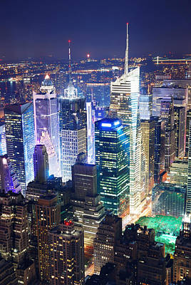Abstract Shapes Janice Austin Royalty Free Images - Times Square aerial view at night Royalty-Free Image by Songquan Deng