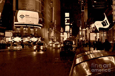 Photograph - Times Square At Night - In Copper by Miriam Danar