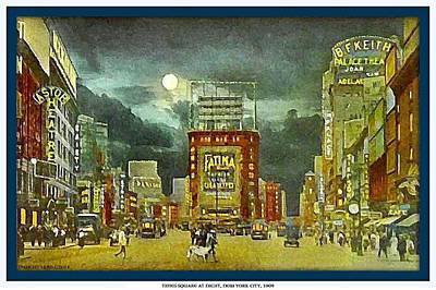 Painting - Times Square At Night- New York City- 1909 by Dwight Goss