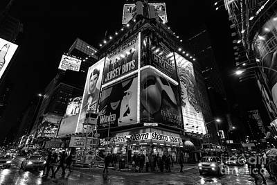 Times Square Photograph - Times Square Black And White II by John Farnan