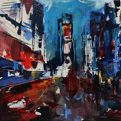 Painting - Times Square By Night by Elise Palmigiani
