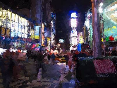 Times Square Mixed Media - Times Square By Night by Steve K
