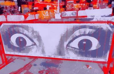 Nyc Mixed Media - Times Square Eyes by Dan Sproul