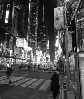 Times Square In Black And White Art Print
