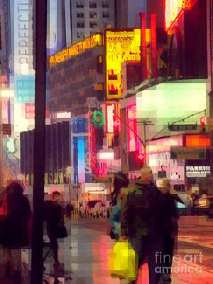 Photograph - Times Square - Man Walking With Yellow Bag by Miriam Danar