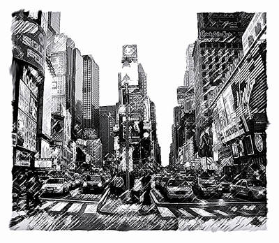 Times Square Drawing - Times Square   New York City by Iconic Images Art Gallery David Pucciarelli