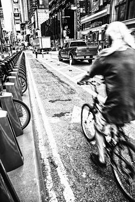 Photograph - Times Square Ride Bw by Karol Livote