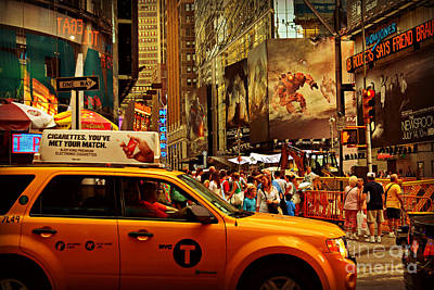 Photograph - Times Square - Taxi And Crowd by Miriam Danar
