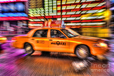 Photograph - Times Square Taxi Iv by Clarence Holmes