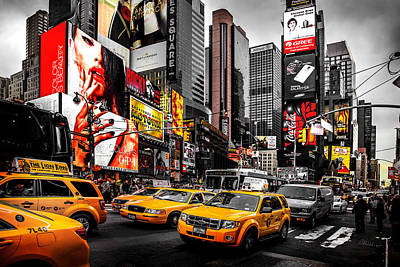 Blackandwhite Photograph - Times Square Taxis by Az Jackson