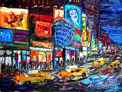 Surreal Painting - Times Square With Globe by Arthur Robins