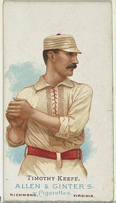 Baseball Drawing - Timothy Keefe, Baseball Player by Allen & Ginter