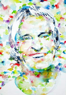Lsd Painting - Timothy Leary - Watercolor Portrait by Fabrizio Cassetta