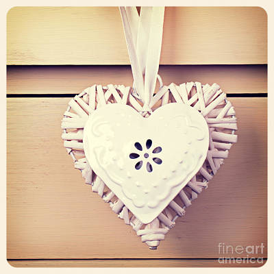 Tin  And Wicker Heart Retro Print by Jane Rix