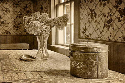 Photograph - Tin Box And Dried Hydrangea -vintage Interior - Sepia by Nikolyn McDonald