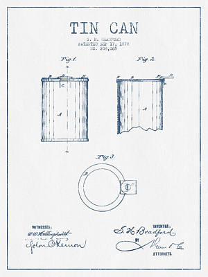 Beer Royalty-Free and Rights-Managed Images - Tin Can Patent Drawing from 1878 - Blue Ink by Aged Pixel