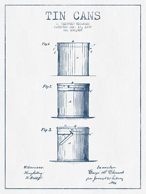 Beer Royalty-Free and Rights-Managed Images - Tin Cans Patent Drawing from 1878 - Blue Ink by Aged Pixel