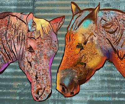 Digital Art - Tin Horses by Marlene Watson