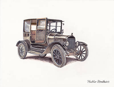 Ford Truck Drawing - Tin Lizzie Ford by Heather Stinnett