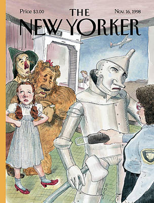 Wizard Painting - Tin Man Stopped By Security At The Airport by Barry Blitt