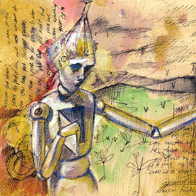 Watercolor With Pen Painting - Tin Man - Wizard Of Oz  by Chris Bradley