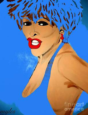 Painting - Tina Turner Fierce Blue 2 by Saundra Myles