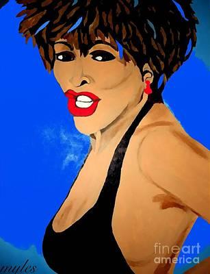 Tina Turner Painting - Tina Turner Fierce Blue Impression by Saundra Myles