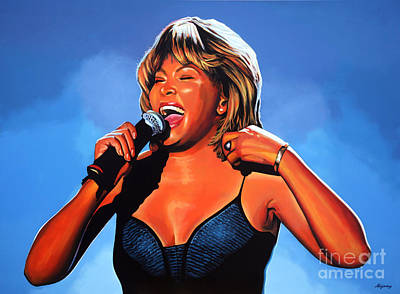 With Blue Painting - Tina Turner Queen Of Rock by Paul Meijering